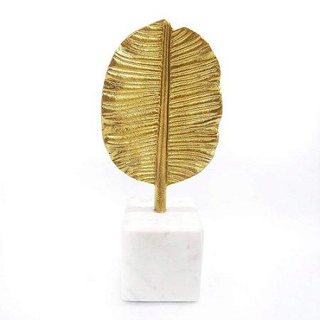 Escultura Folha Dourada Mármore Art Home