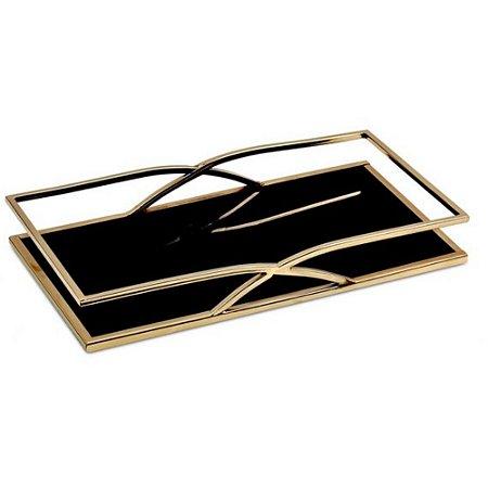Bandeja Retangular Dourado Preta Metal M