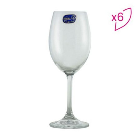 Jogo De Taças Para Vinho Branco Roberta - Cristal - 6Pçs - 350ml - BOHEMIA