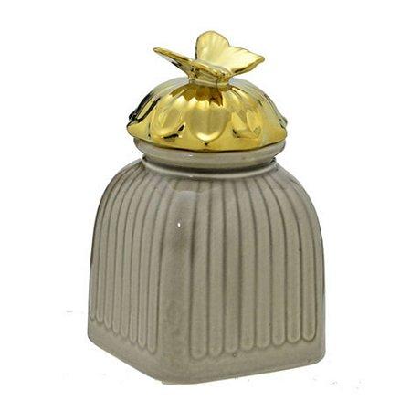 Potiche Decorativo Bege Dourado Borboleta