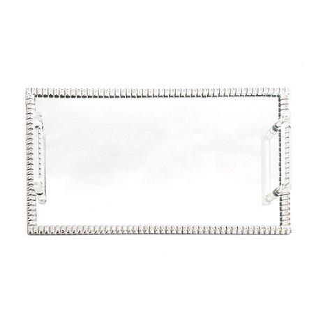 Bandeja Decorativa Prata Espelhada Com Alça Espressione Italy Style