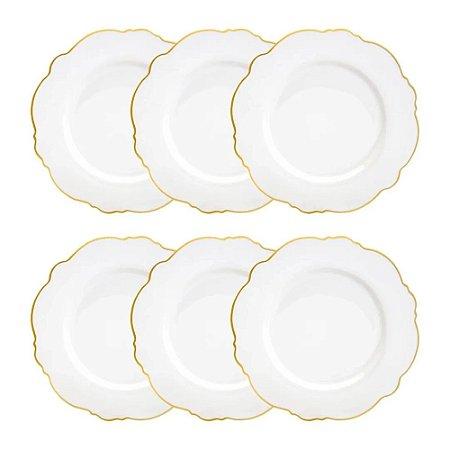 Conjunto 6 Pratos Rasos Porcelana Branco Wolff