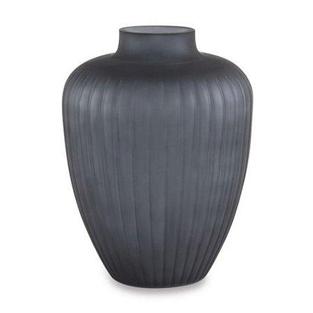 Vaso Com Relevo - Cinza Escuro - 25xØ19cm