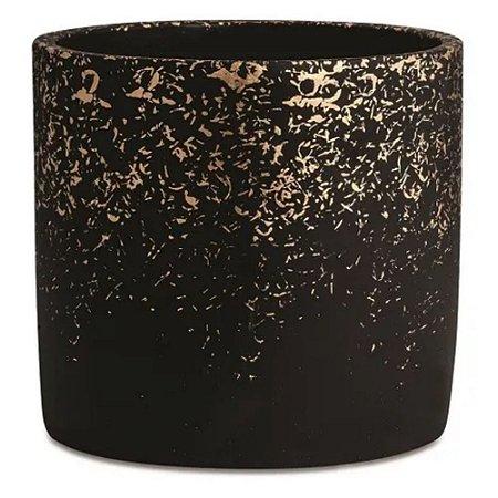 Cachepot Cimento Preto Dourado G