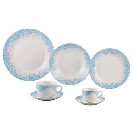 Aparelho de Jantar 42 Peças Porcelana Benidorm Wolff Branco/Azul Claro