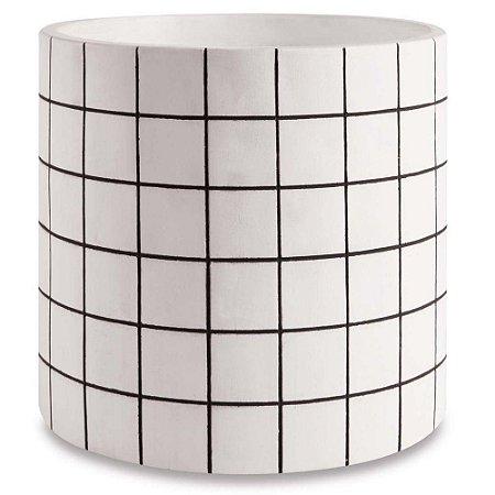 Cachepot Branco Cimento Quadriculado G