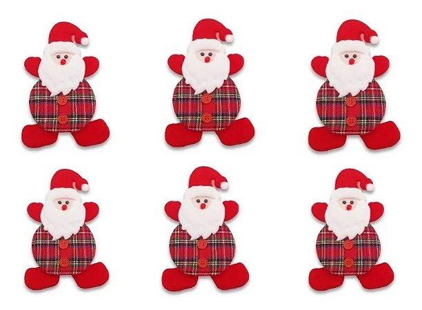 Kit Com 6 Bonecos Papai Noel Pendente Para Árvore Natal 17cm