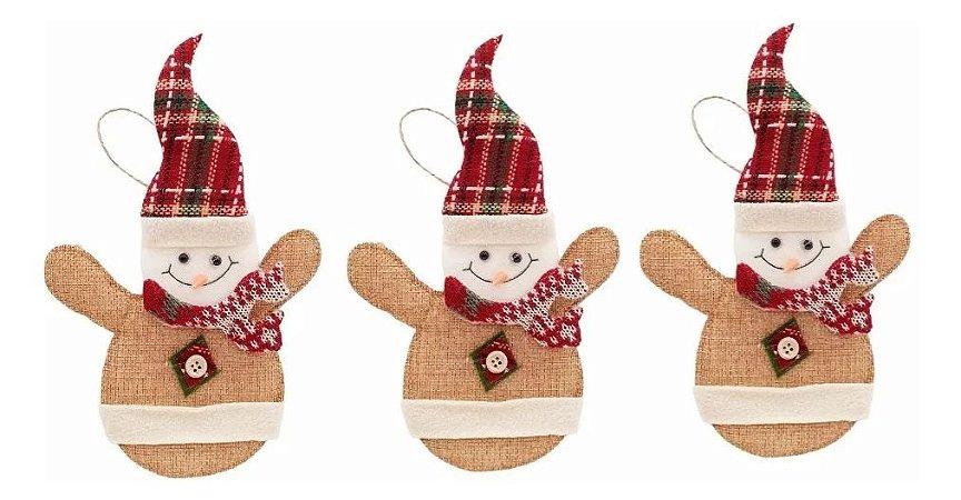 Kit 3 Bonecos De Neve Pendente 21cm Tecido Para Árvore De Natal