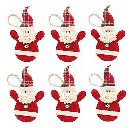 Kit 6 Bonecos Papai Noel Tecido Pendente 21cm Enfeite Para Árvore Natal