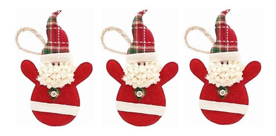 Kit 3 Bonecos Papai Noel Tecido Pendente 21 cm Enfeite Para Árvore Natal