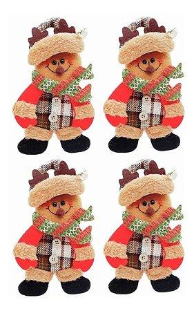 Kit 4 Bonecos De Neve Pendente Tecido E Guizo Enfeite Natal