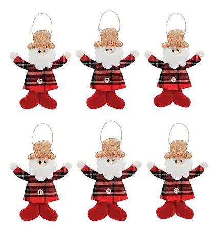 Kit Com 6 Papai Noel Pendente Tecido Xadrez Enfeite Natal