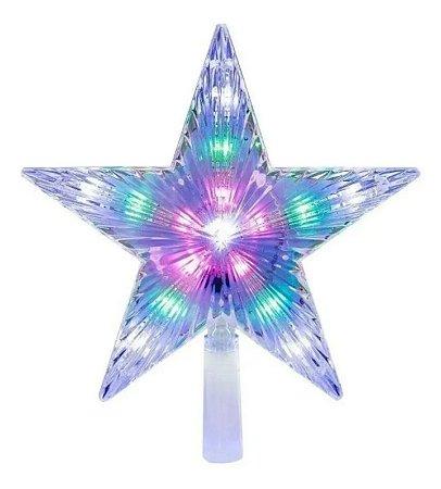 Estrela Ponteira Com Led 20cm Enfeite Árvore De Natal Bivolt