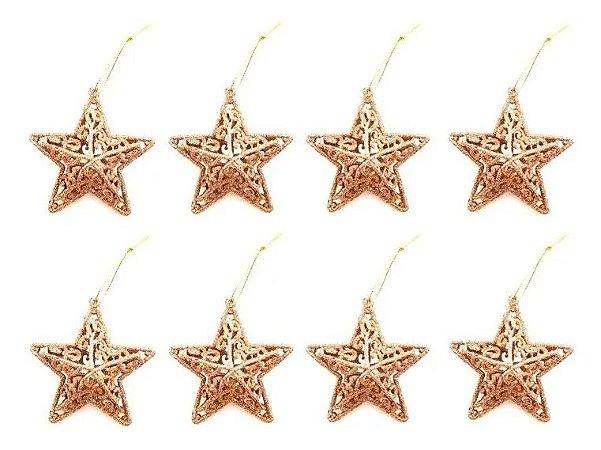 Kit 8 Estrelas Vazada Dourada Com Glitter 8cm Pendente Natal