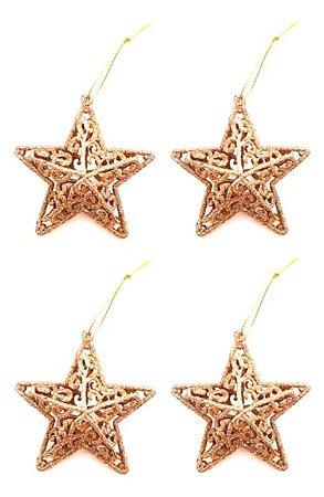 Kit 4 Estrelas Dourada Com Glitter 8cm Vazada Pendente Natal