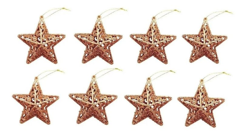 Kit 8 Estrelas Com Glitter Rose Gold Vazada 8cm Pendente Natal