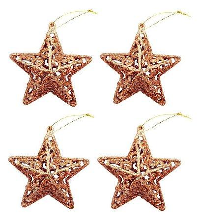 Kit 4 Estrelas Com Glitter Rose Gold Vazada 8cm Pendente Natal