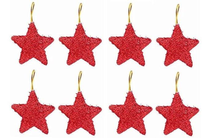 Kit 16 Estrelas Pendente Vermelha Brilhante 6cm Para Árvore De Natal