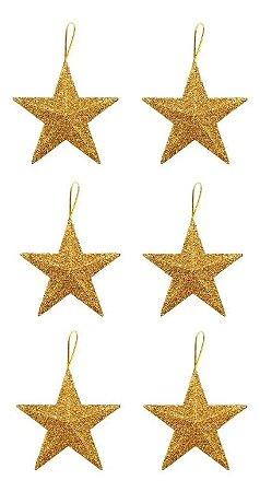 Kit 6 Estrelas Pendente Dourada Glitter 11cm Para Árvore De Natal