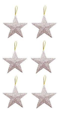 Kit 6 Estrelas Pendente Glitter Prata 11cm Para Árvore Natal