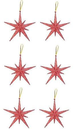 Kit 6 Estrelas Pendente Glitter Rose Gold 11,5cm Para Árvore Natal
