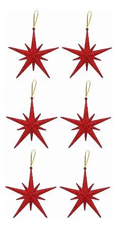 Kit 6 Estrelas Pendente Glitter Vermelha Para Árvore Natal