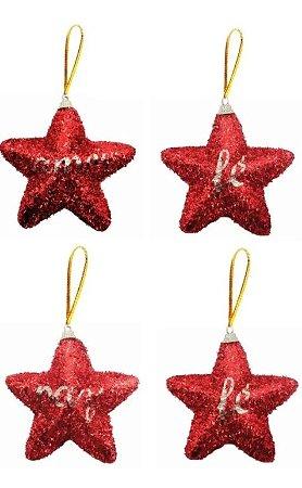 Kit 4 Estrelas Pendente Vermelha 10cm Palavra Amor Fé Paz Natal