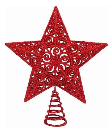 Estrela Vazada Ponteira Glitter Vermelha 20cm Para Árvore Natal