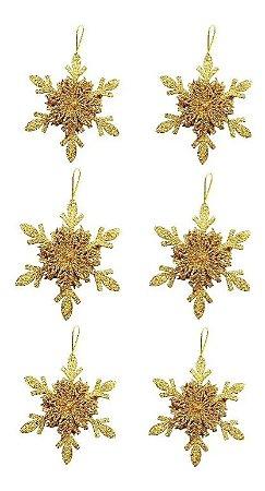 Kit 6 Flocos De Neve Folha Glitter Dourado 12cm Pendente Enfeite De Natal