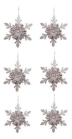 Kit 6 Flocos De Neve Folha Glitter Prata 12cm Pendente Enfeite De Natal