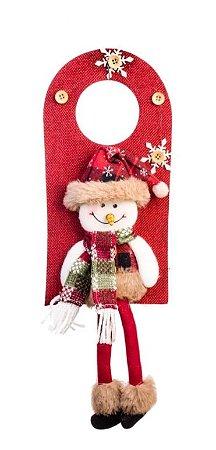 Enfeite Boneco De Neve Com Pernas Para Porta 39cm Tecido Natal