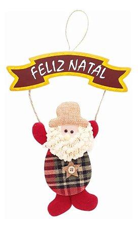 Enfeite De Porta Pendente Placa Papai Noel Em Tecido 30cm Natal