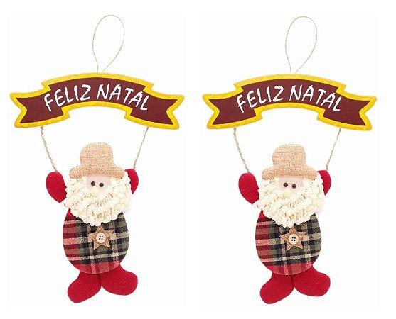 Kit 2 Enfeites De Porta Pendente Placa Papai Noel Em Tecido Natal