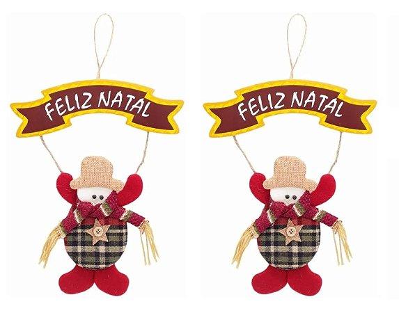 Kit 2 Enfeites De Porta Pendente Boneco De Neve Em Tecido Xadrez Natal