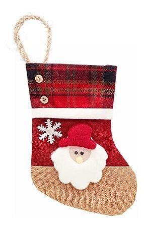 Bota Papai Noel Tecido Pendente Para Porta Decoração Natal