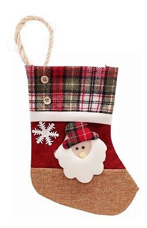 Enfeite Bota De Tecido Pendente Decoração Natal Papai Noel