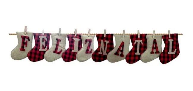 Varal Com Botas E Prendedor Tecido Xadrez Juta Feliz Natal