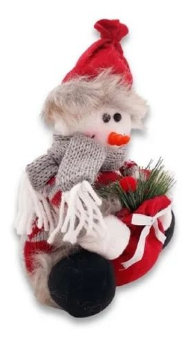 Boneco De Neve Sentado Pano Enfeite Decorativo Natal 20 Cm