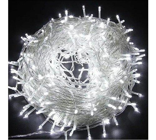 Pisca Fio Transparente 400 Lâmpadas 8f Led Bivolt 30m Branco