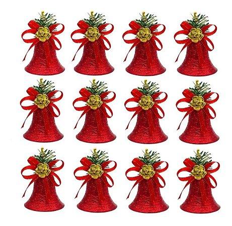 Kit 12 Sinos Natalino Vermelho Pendente Enfeite Árvore Natal