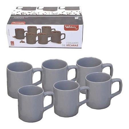 Conjunto De Xícaras Cerâmica 6 Peça Para Café 100 Ml Cor Cinza