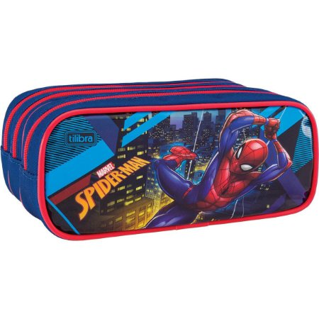 Estojo Escolar Triplo Grande Spider Man - Tilibra