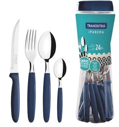 Conjunto de Talheres Ipanema 24 peças Azul - Tramontina