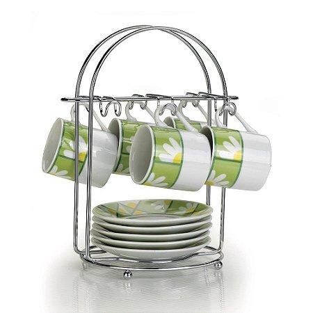 Porta Xícaras de Café Arthi Aço Cromado para 6 peças
