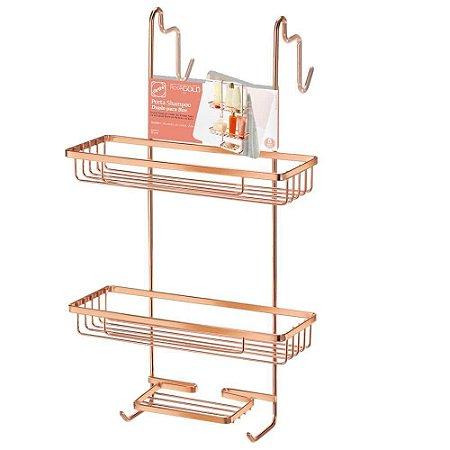 Porta Shampoo Duplo para Box Arthi Linha Rosé Gold