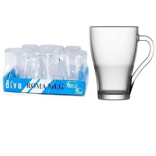 Jogo Com 6 Canecas de Vidro 265 ml Roma Mug