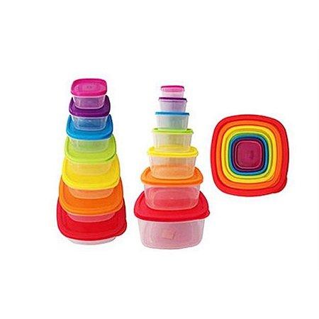 Conjunto de Potes de Plástico Colorido 7 Peças