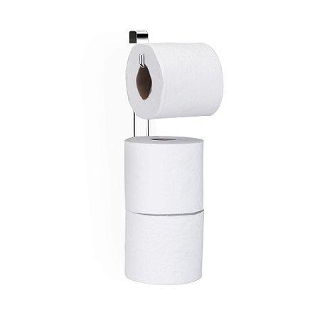 Porta Papel Higiênico Triplo p/ Caixa Acoplada em Aço Cromado - Arthi