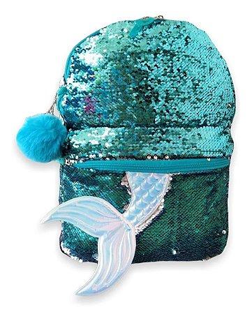 Mochila de Costas Sereia Muda de Cor Azul/Prata - Clio