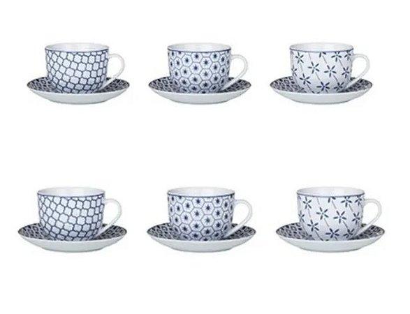 Conjunto de Xícaras Para Chá em Porcelana 12 Peças Agatha Azul 220ml
